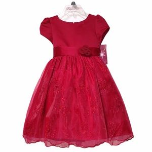 NWT PRINCESS FAITH Holiday Flower Satin Dress